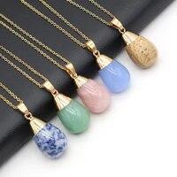 2021new natural stones rose quartz round drop shaped semi precious stone necklace multi stonediy exquisite necklace jewelry gift