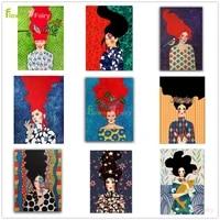 Toile dart mural Vintage femme fille fleur  peinture nordique  decor de maison  images murales pour salon sans cadre