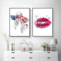 Affiche dart mural de mode  parfum  levres  maquillage  toile  peinture abstraite  chapeau de fille  images pour decoration de maison moderne
