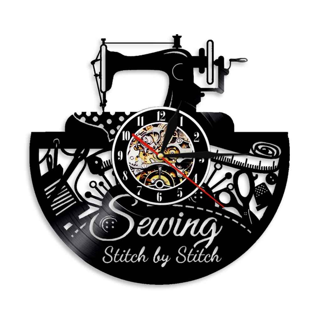 Reloj de pared con grabado de vinilo, máquina de coser, decoración de...