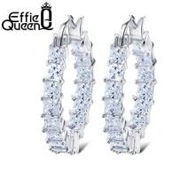 Effie Queen grand cerceau rond femme boucle doreille éternité Style avec barre de Zircon brillant réglage boucles doreilles de luxe pour les femmes en gros DE144