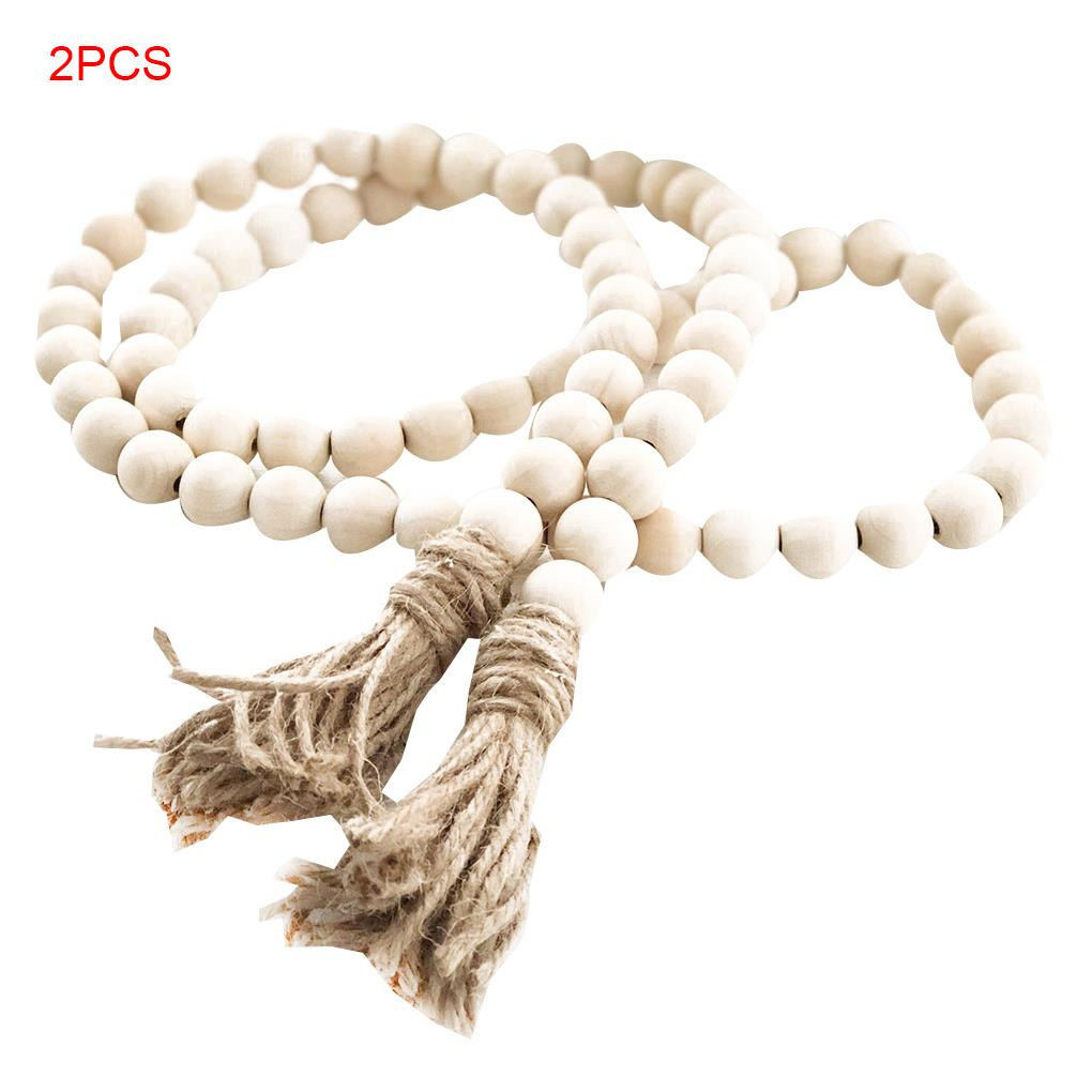2 PCS Wooden Bead Garland Farmhouse Rustic Country Tassle Prayer Beads Wall Hanging Decorations
