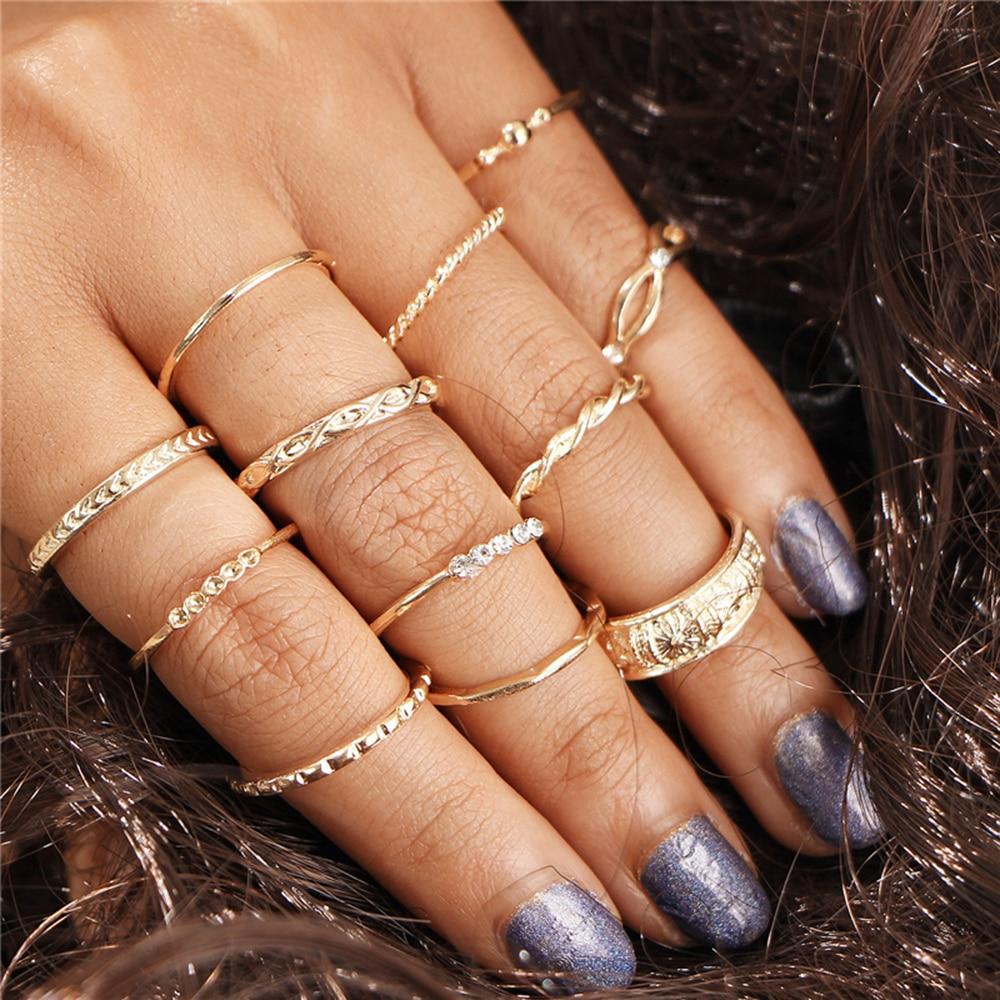 12 pçs/set vintage midi dedo charme anéis jóias moda ouro joia junta anéis definir para mulher 2020 nova chegada
