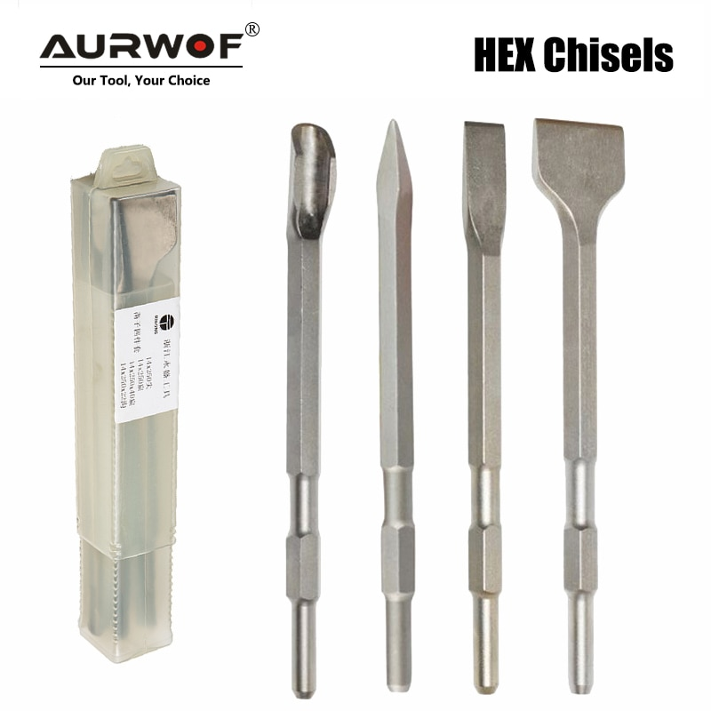 4pcs 17mm HEX Shank 280mm Chisels Set Point Groove Gouge Flat Chisel Electric Hammer Drill Break Concrete Brick Wall Drilling