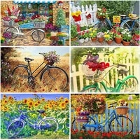 diy 5d diamond painting bicycle flower full round resin mosaic diamond embroidery scenery cross stitch rhinestone art home decor