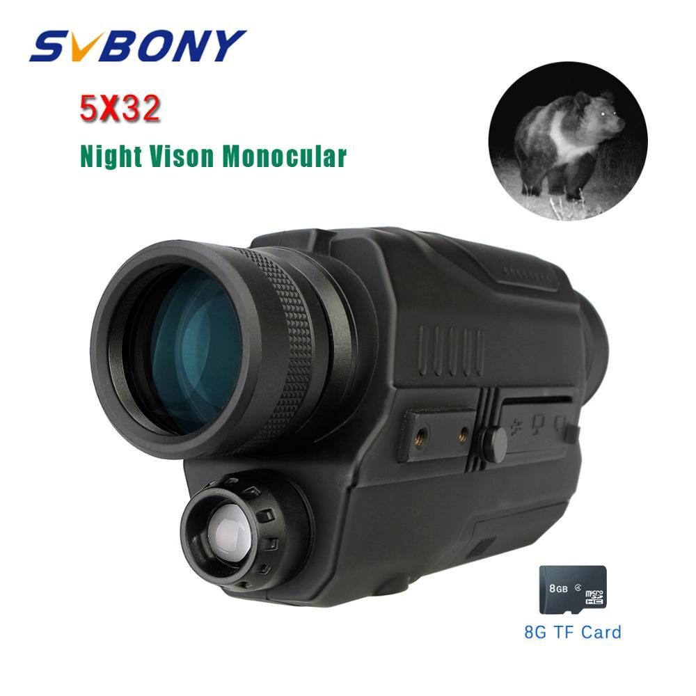 Telescopio Monocular Digital de visión nocturna SVBONY 5x32 de 0,3 megapíxeles CMOS 1,5 pulgadas pantalla LCD dispositivo infrarrojo binoculares de caza