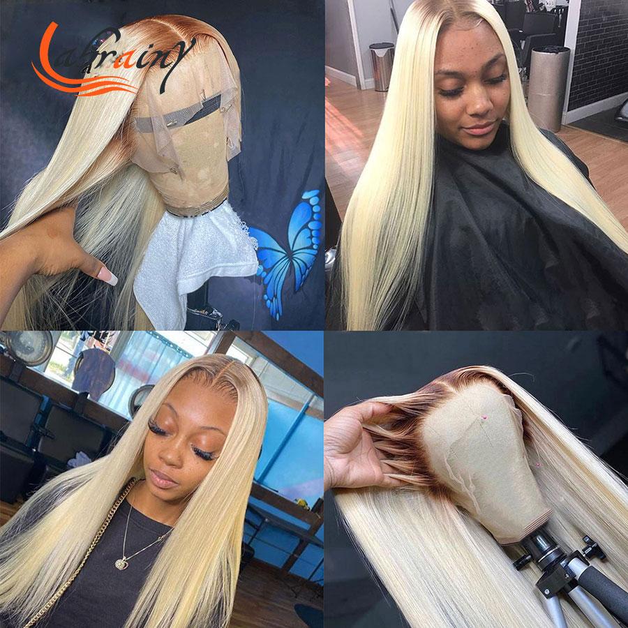 613 коричневый парик с эффектом омбре, 40 дюймов, Hd, с прозрачной кружевной передней частью, парики из человеческих волос, блонд, 13x6, парик на се...