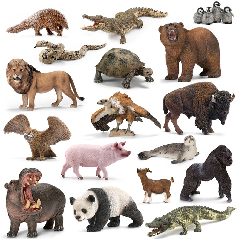 Original genuine jungle wild life zoo farm animal sets dog wolf donkey bull sheep hippo figurine kids toy for children gift