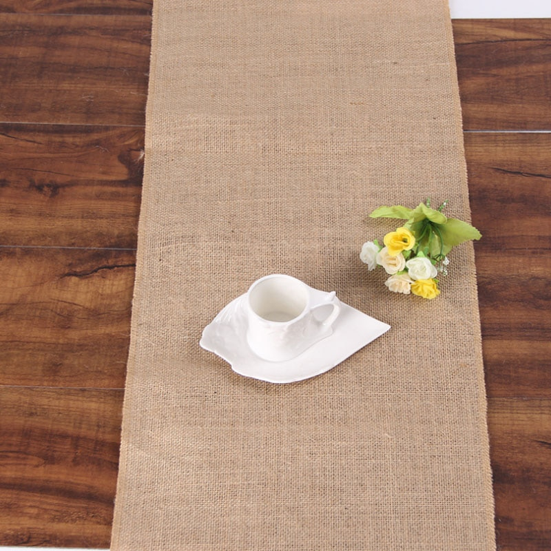 Vintage Natural Burlap Jute Linen Table Runner