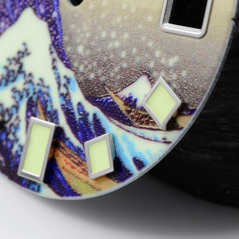 San Martin Watch Parts 28.5mm Full Luminous 3D Printing Kanagawa Surfing Watch Dial Fit NH35/36 4R/6R/7S Movement enlarge