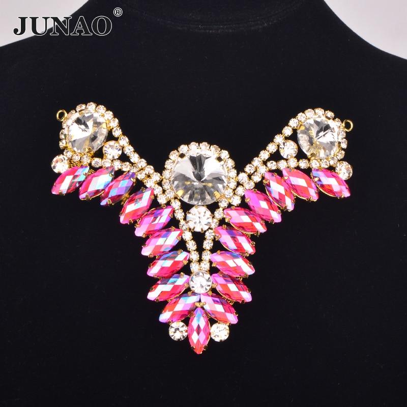 JUNAO 80x100mm Rosa AB coser Flor de cristal Rhinestone hebilla Flatback apliques strass cosido botones de diamante de cristal para collar