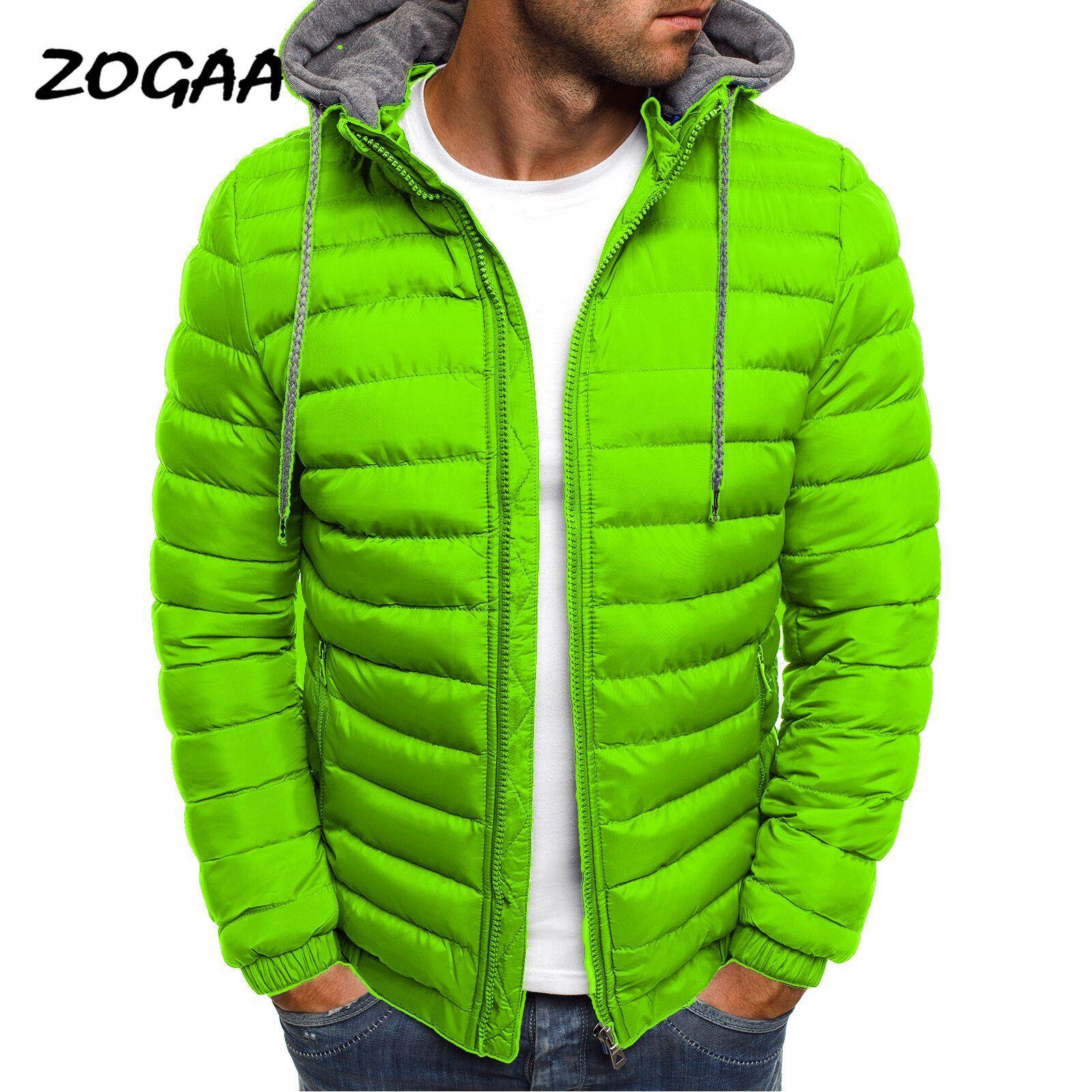 ZOGAA Мужская Зимняя парка, мужская повседневная куртка с капюшоном, одноцветная теплая ветрозащитная тонкая куртка, зимняя уличная одежда ра...