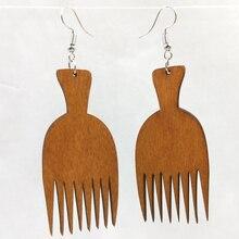 1 زوج أقراط خشبية نوعية جيدة العضوية براون الجوف امرأة الأفريقية خشبية Brincos قلادة 3*6.5 سنتيمتر E399