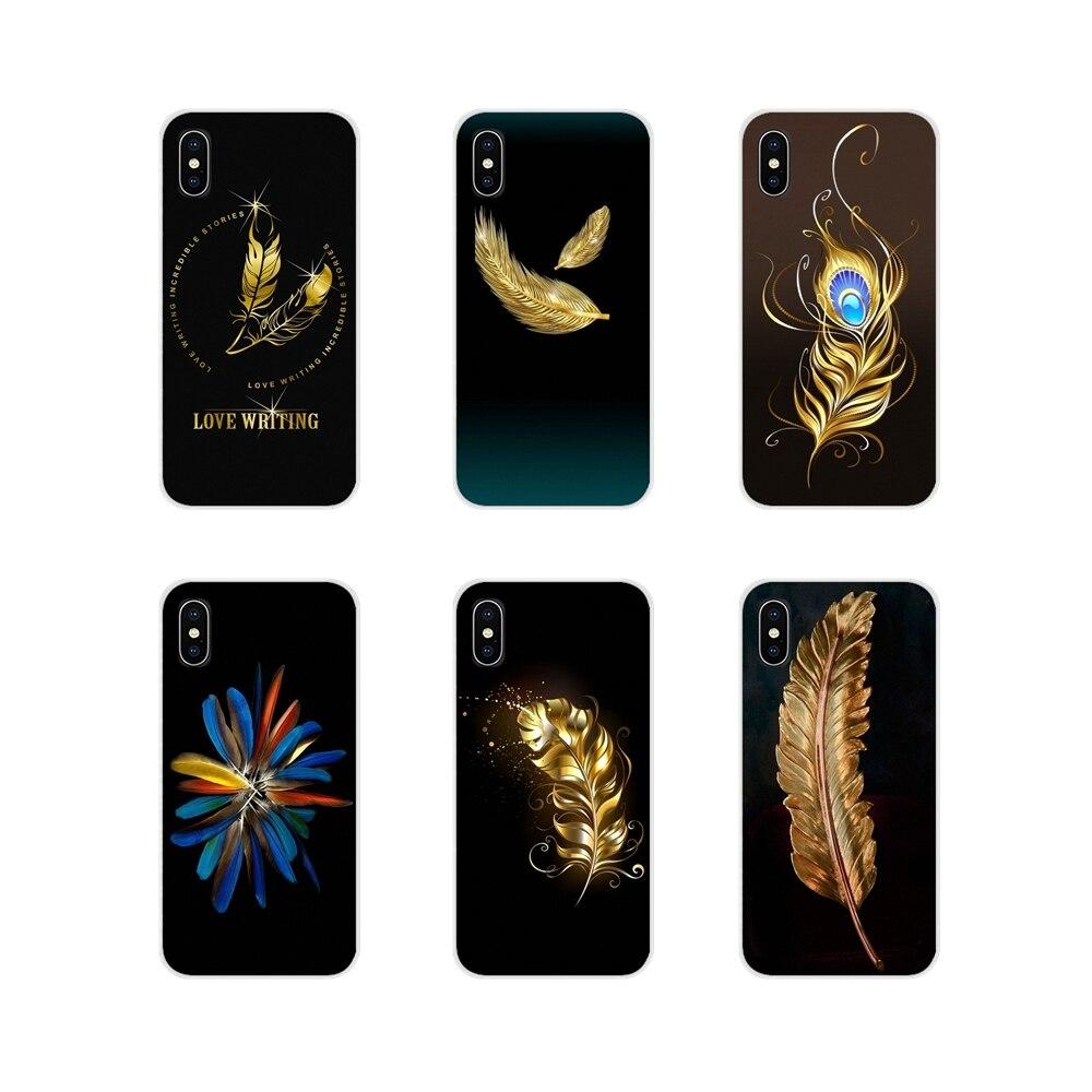 Para Huawei Mate Honor 4C 5C 5X 6X 7 7A 7C 8 9 10 8C 8X 20 Lite Pro accesorios para teléfono carcasas bonitas alas de plumas negras y doradas