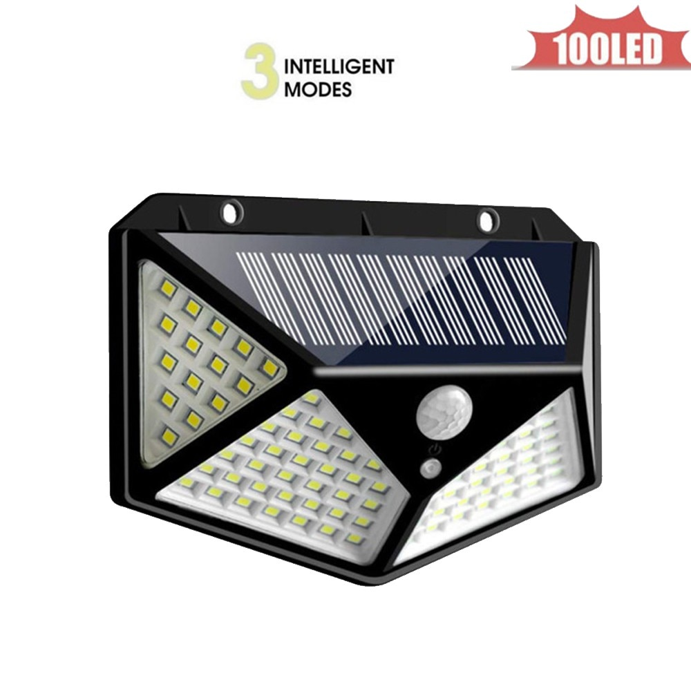 Outdoor 100 LED Solar Wall Lamp Fe Battyery Waterproof Cold/Warm White Remote Control ABS Garden Path Light 4 sided 270°lighting