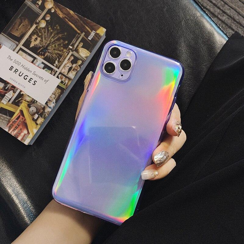 Luxo roxo brilho bling telefone estojo para iphone 11 pro max xr x xs max 7 7 puls 8 mais se 2020 casos blu-ray macio tpu capa