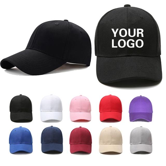 Custom baseball cap print logo text photo embroidery gorra casual solid hats pure color black cap Snapback caps for men women