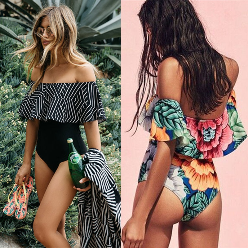 Sexy Women Off Shoulder Ruffled One Piece Swimsuit Swimwear Black Monokini soild black mokokini Padded swimwear Bathing Suit