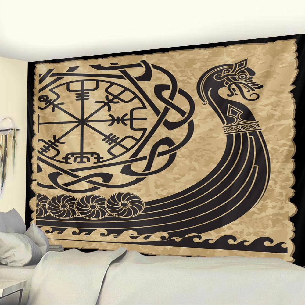 Viking mystical symbol home decoration tapestry psychedelic scene tapestry Bohemian Upholstered Sofa carpet witchcraft yoga mat