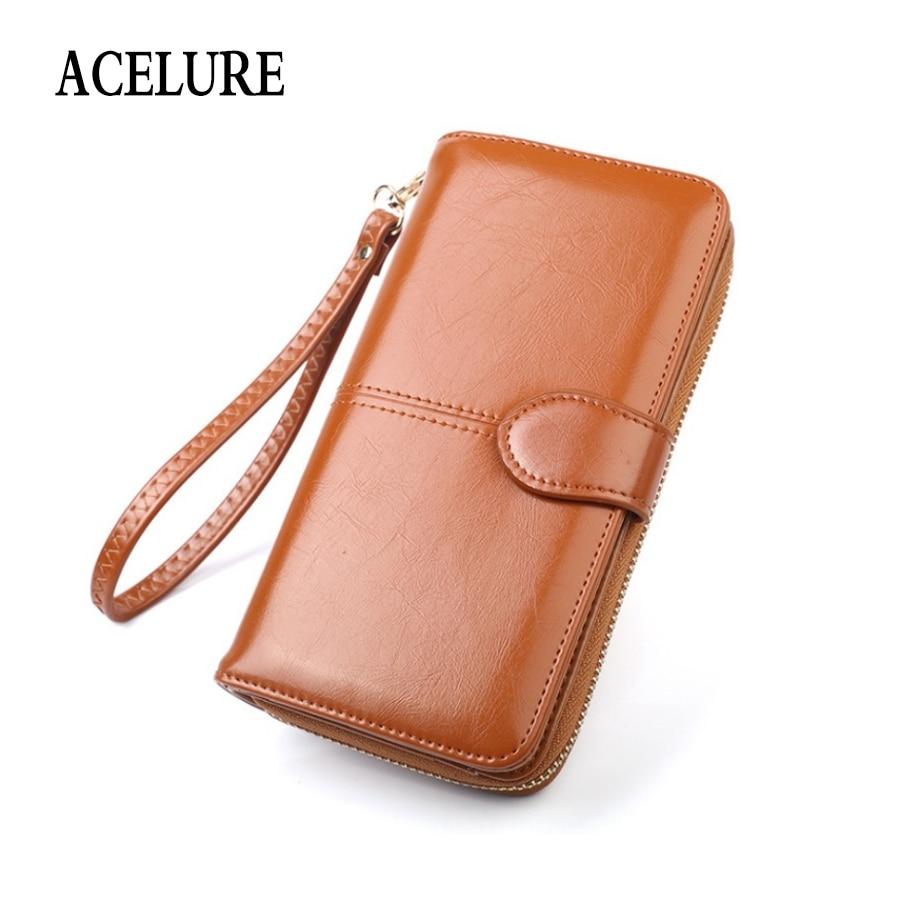 ACELURE-carteras largas para mujer, de Color liso, estilo sencillo, con cremallera y Cerrojo, con tarjetero, billetera diaria de piel sintética encerada para mujer