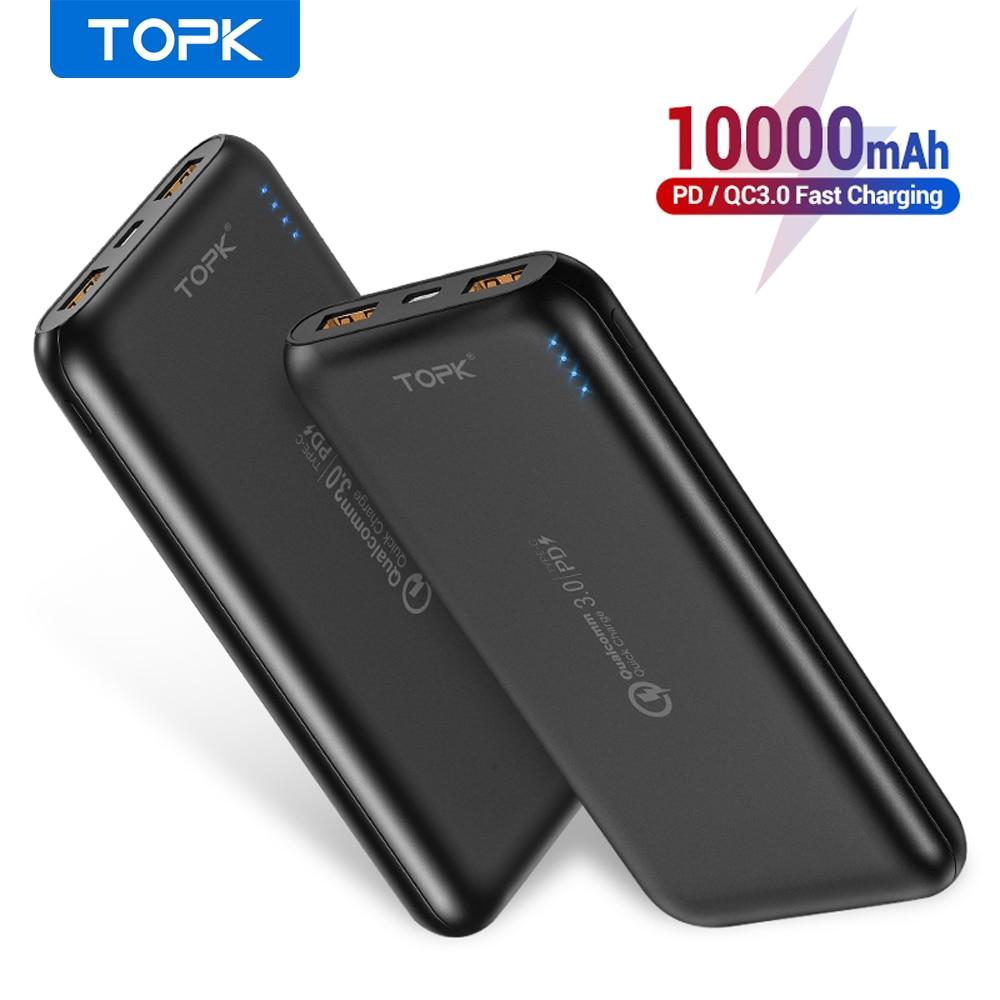 TOPK 10000mAh Power Bank 18W Quick Charge 3,0 Typ C PD Schnelle Aufladen Power Externe Batterie Ladegerät für handys