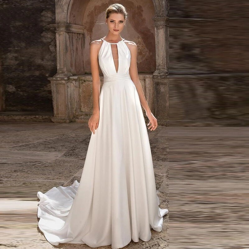 White A-line Evening Dresses Halter Sweep/Brush Sleeveless Party Gowns Simple sexy high quality