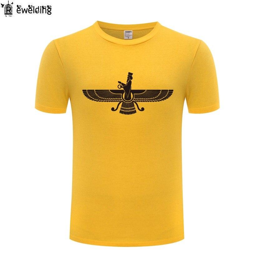 Farvahar Iran Persia Symbol Iranian Persian Zoroastrian Men T Shirt T Shirts Men Cotton Short Sleeve Tshirt Streetwear Top Tee