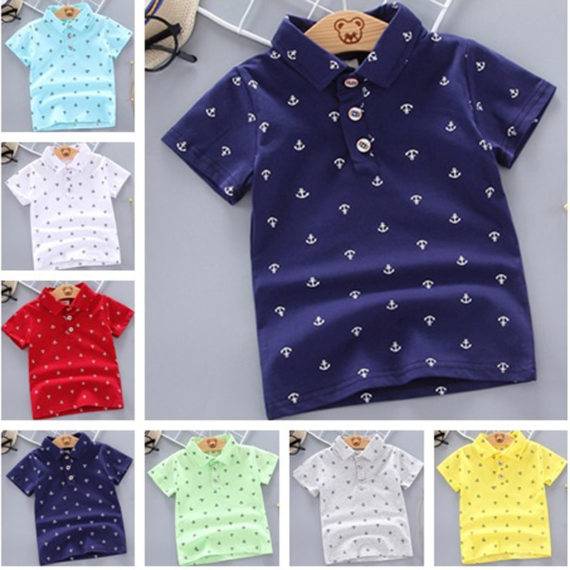 2021 Summer Baby Boys Polo Shirts Short Sleeve Anchor Lapel Clothes for Girls Odell Cotton Breathabl