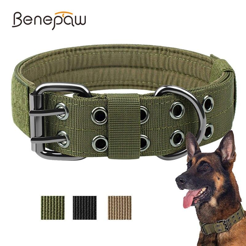 Benepaw دائم التكتيكية طوق بكلاب قابل للتعديل الثقيلة التدريب العسكري طوق الحيوانات الأليفة كلاب متوسطة وكبيرة الحجم ماجيك ملصق ID لوحة
