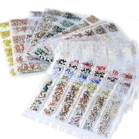 nail enhancement flat bottom mixed color multi size multi color 6 grid sub decoration nail accessories sticking