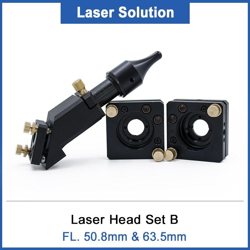 Conjunto de cabezales láser tipo B 3 uds espejo 25mm + 1 Uds lente láser ZnSe D20mm FL 50,8mm 63,5mm 2 2,5 grabador láser para máquina láser CO2