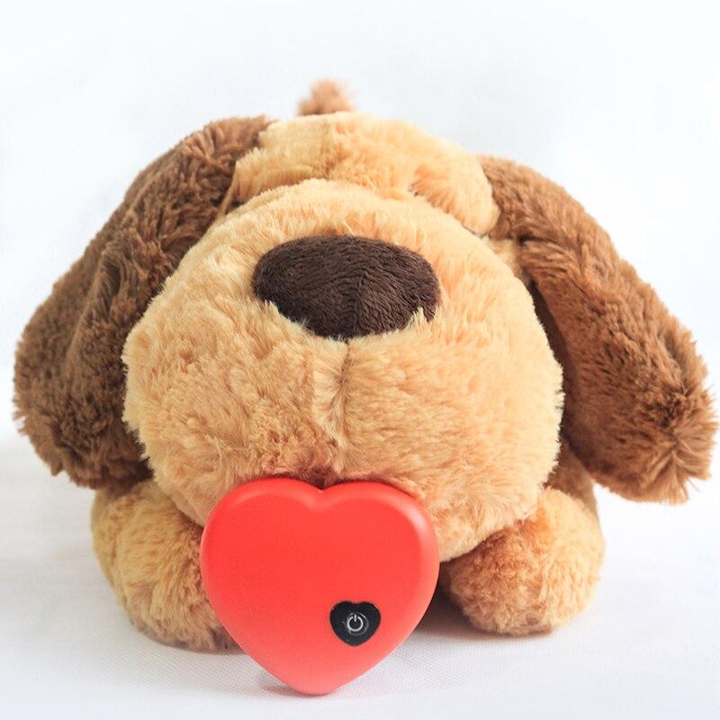 Juguete de peluche para perros, cómodo juguete de ayuda para entrenamiento conductivo, latido del corazón, muñeco de peluche relajante para dormir para perros inteligentes juego gatos