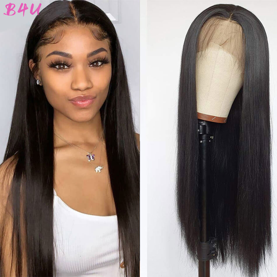 B4U Straight Hair Lace Front Human Hair Wig Straight 13X4 HD Transparent Lace Frontal Wigs Pre Plucked Remy Lace Closure Wig