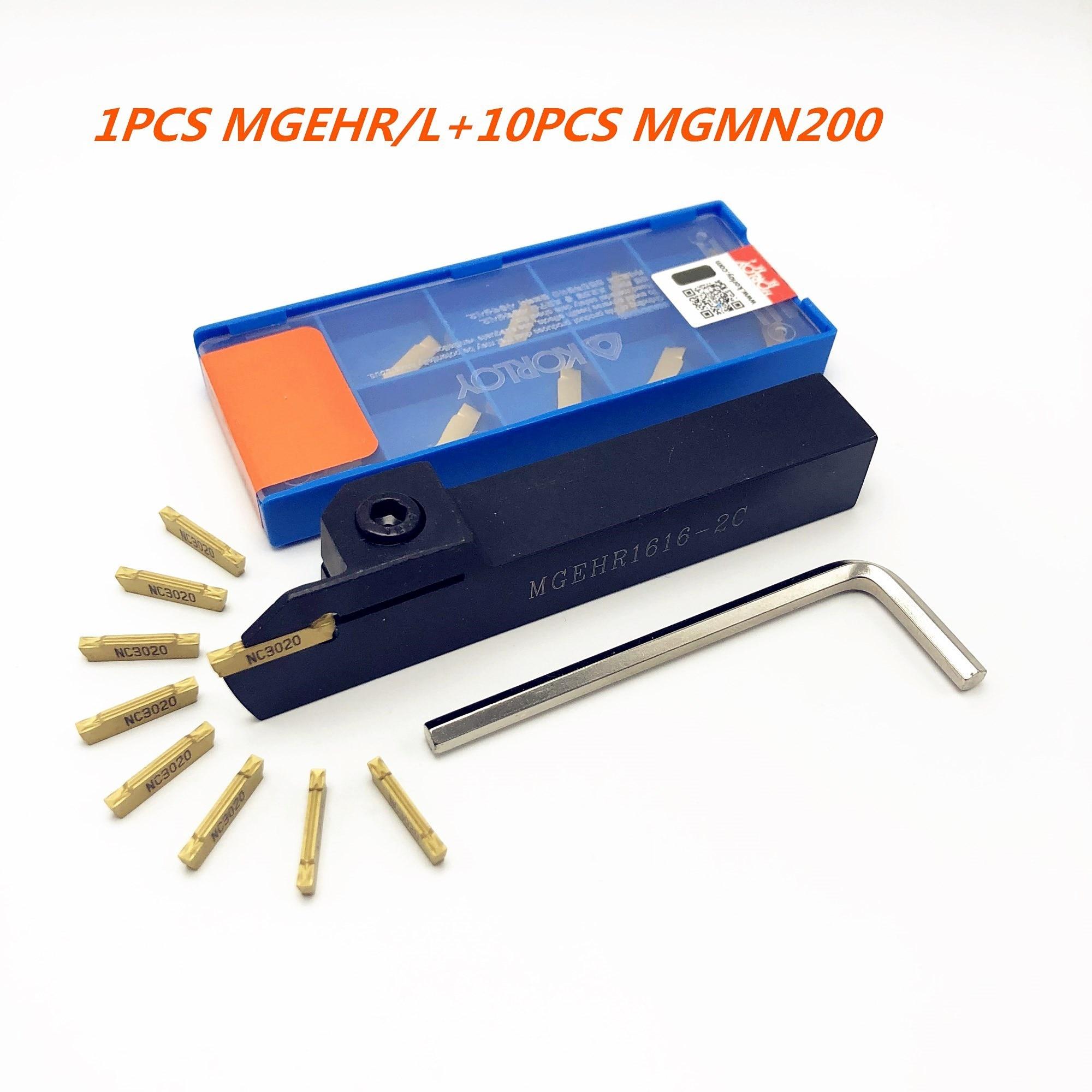 1PCS CNC slot cutter MGEHR/L 1010 1212 1616 2020 2525-2.0 outer diameter knife holder +10PCS korloy MGMN200-2mm slot blade