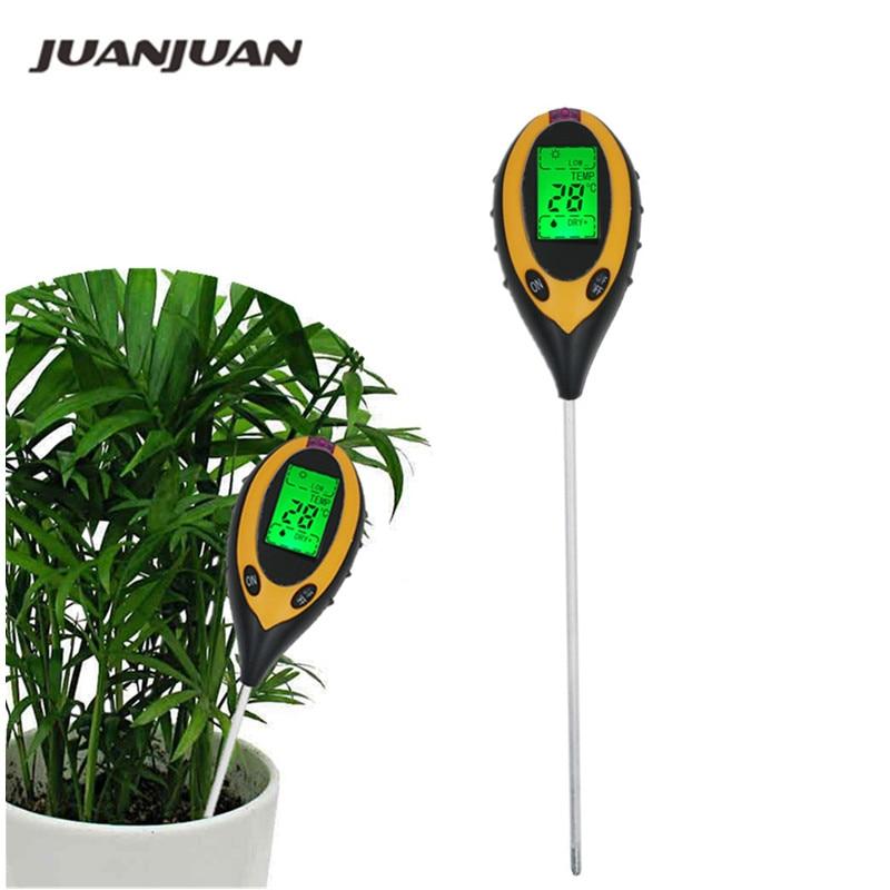 Medidor de ph do solo 3/4 em 1, testador de ph, medidor de umidade, temperatura, intensidade do sol, análise de medição, acidez, alkali 40% de desconto