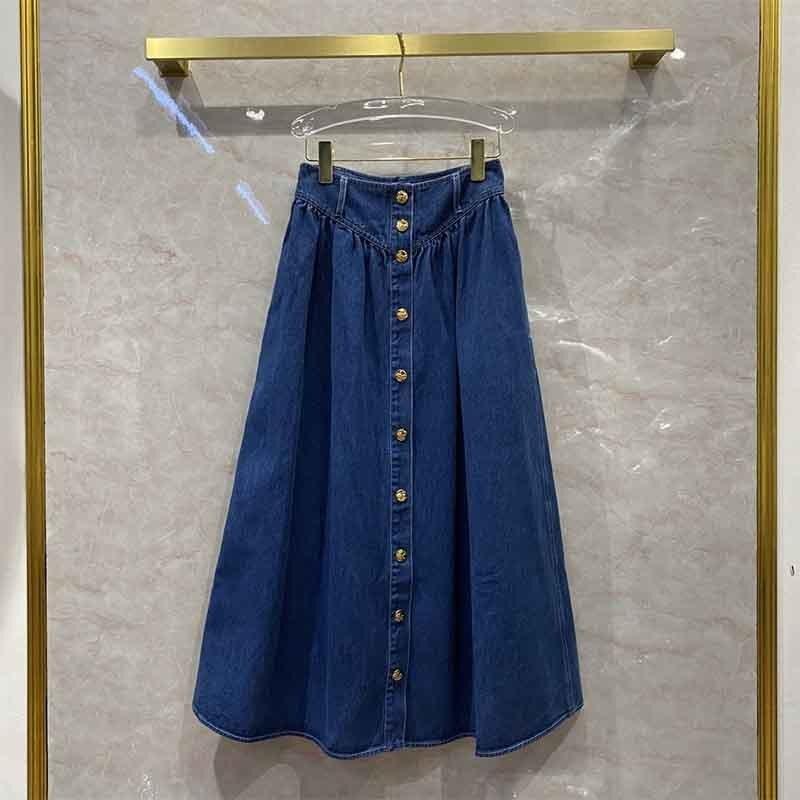 Skirt Womens Denim Half Skirt High Waist Large Swing Single-Breasted Casual Sexy Skirt Front Split S