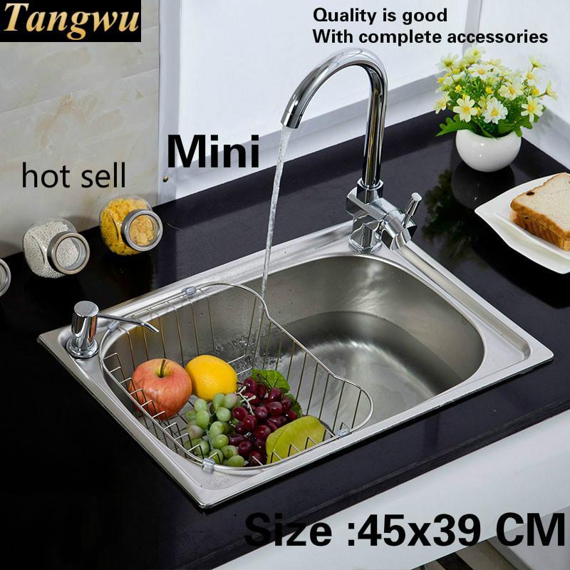Envío Gratis fregadero estándar de cocina de un solo canal mini durable 304 Acero inoxidable venta caliente 45x39 CM