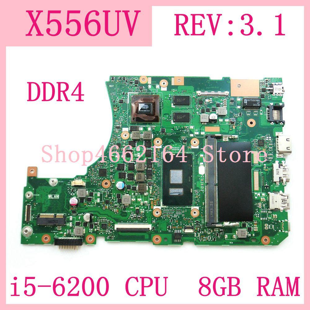 X556UV i5-6200 CPU 8 GO RAM GT920MX Carte Mère REV3.1 Pour ASUS X556UV X556UQK X556UR X556UQX556UJ Carte Mère Dordinateur Portable Testé