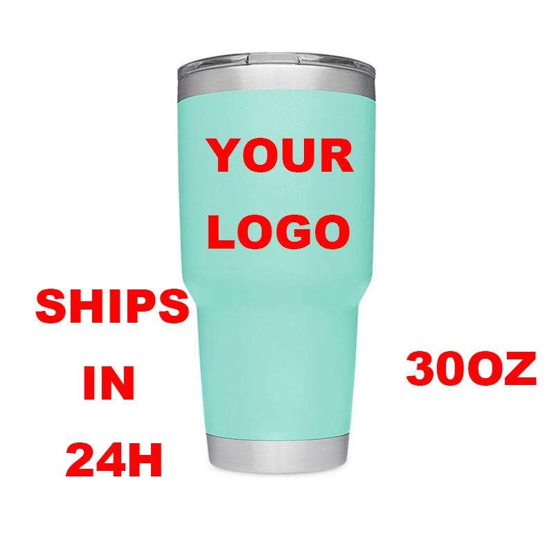 Drop shipping 30oz Tumbler Double wall 18/8 304 stainless steel mug cup water bottle car cup print logo mug