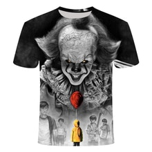Film dhorreur Het Penny sage Clown Joker impression 3D t-shirt Mannen/Vrouwen Hip Hop Streetwear t-shirt 90s Jongens Cool Kleding Ma