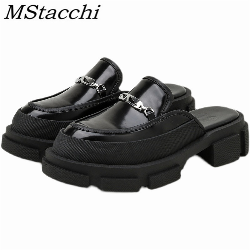 Mstafchi سميكة القاع المرأة النعال جولة تو الفضة الديكور الضحلة باوتو أحذية الحفلات في الهواء الطلق مثير الإناث النعال 2021
