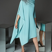 Turquoise Mother Of The Bride Dresses A-line Scoop Knee Length Beaded Short Plus Size Groom Mother D