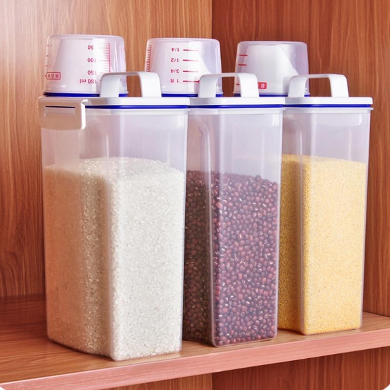 Герметичный контейнер для риса, влагостойкий контейнер для хранения, бытовой Кухонный Контейнер для муки, колесо для экономии муки, контейн...