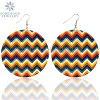 somesoor colorful geometric striped seamless pattern wooden drop earrings african ethnic fabric design dangle for women gifts