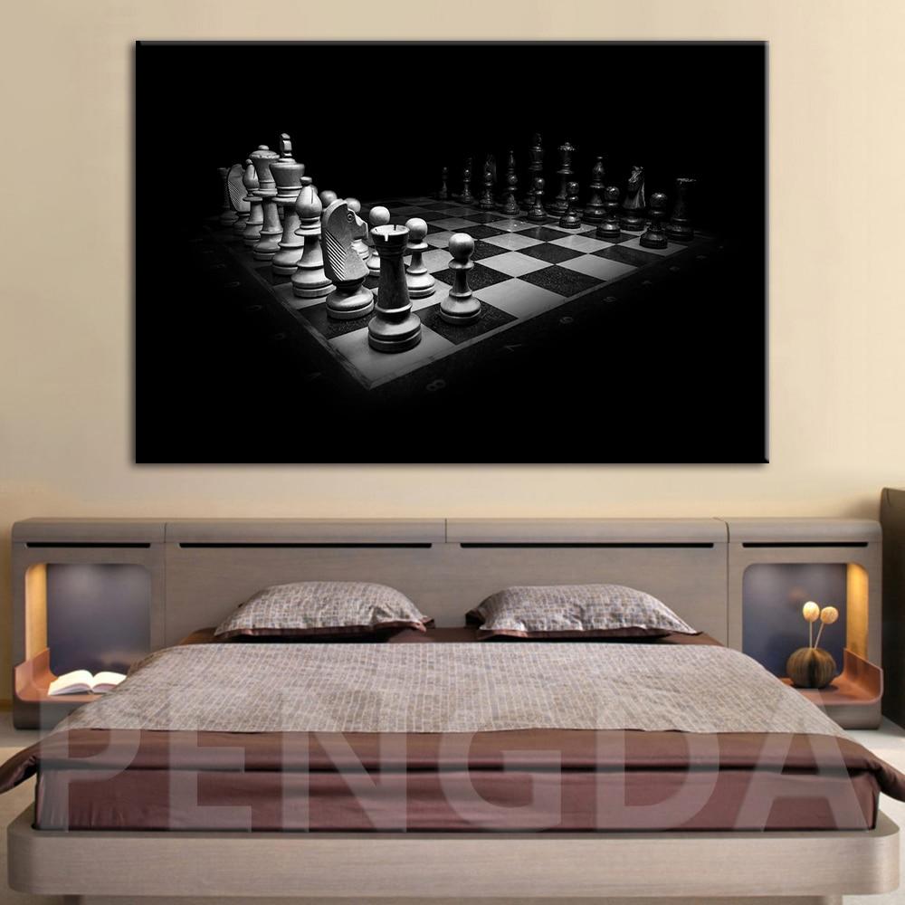 HD impreso pared arte lienzo cuadro hogar Decoración negro blanco vida Roo balas ajedrez juego pintura Modular enmarcado carteles abstractos