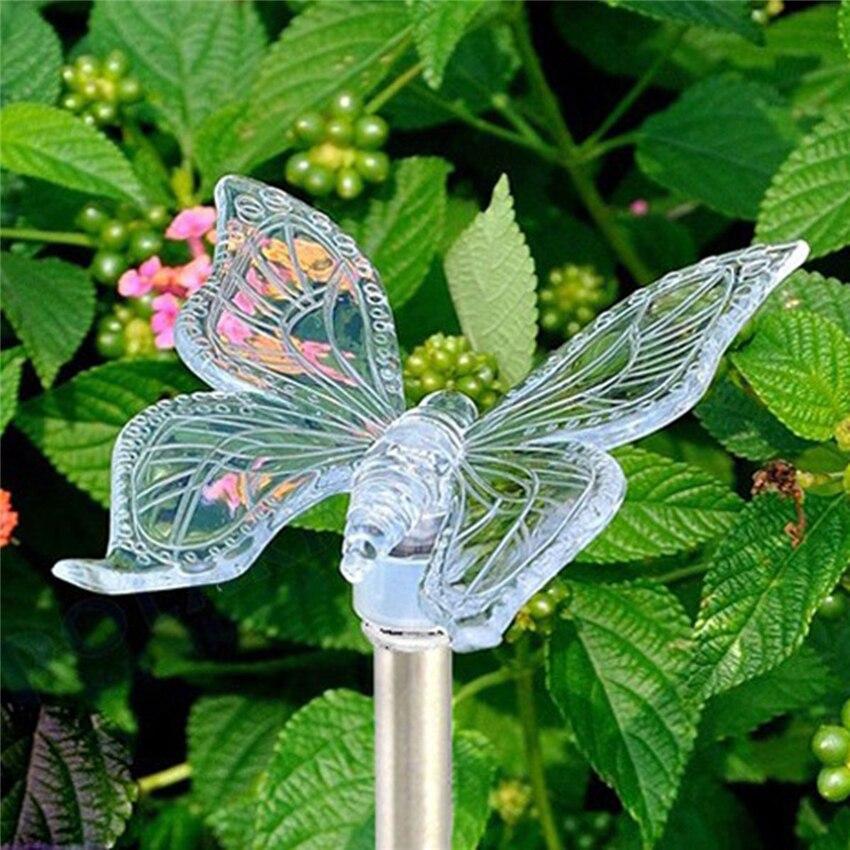 Lámpara LED de paisaje Solar que cambia de Color, lámpara de libélula para exteriores/mariposa/pájaro, lámpara de césped impermeable para jardín, lámpara de Camping RGB