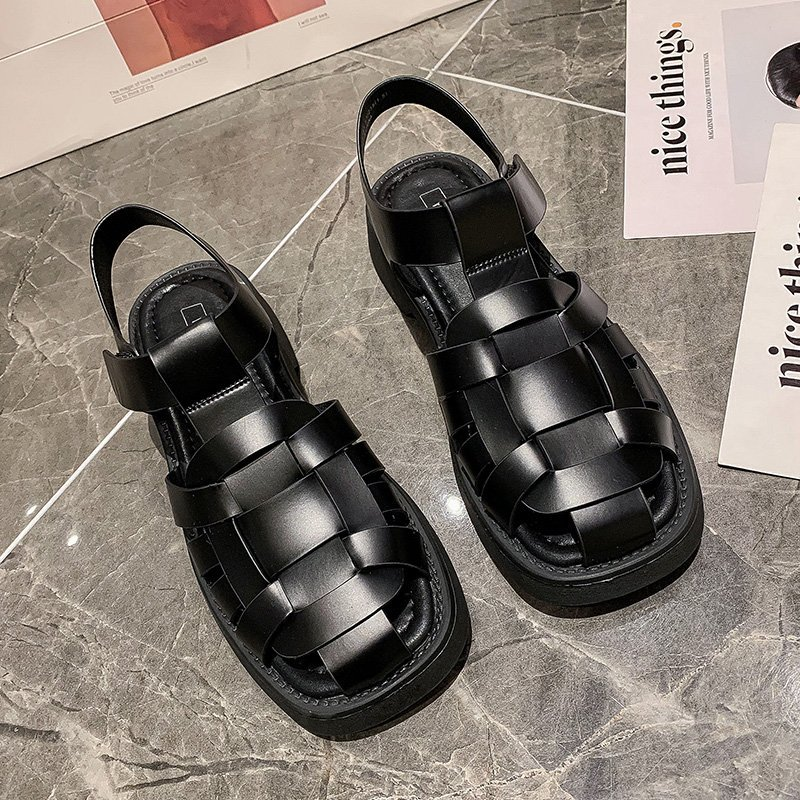 New Style Gladiator Sandals Ladies Flat Sandals Round Toe Holiday Beach Shoes Ladies Comfortable Pla