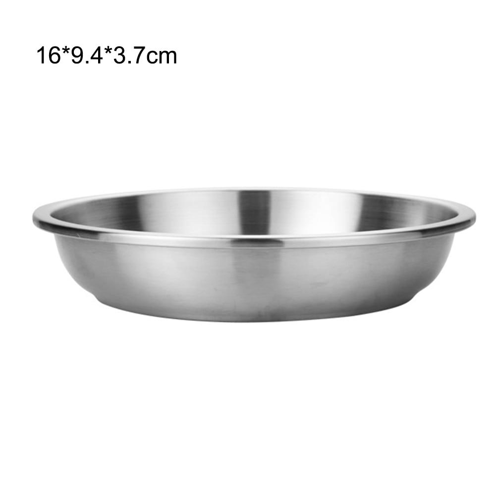 Vajilla de acero inoxidable plato de cena plato para postre de fruta portátil bandeja de barbacoa al aire libre contenedor de alimentos para Camping nuevo S19