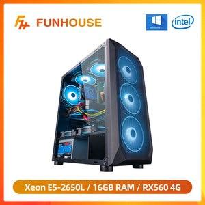 Настольный компьютер Funhouse, Intel Xeon E5-2650L 8-Core/RX560 4G/16G RAM 240G SSD, дешевый игровой высокопроизводительный настольный компьютер