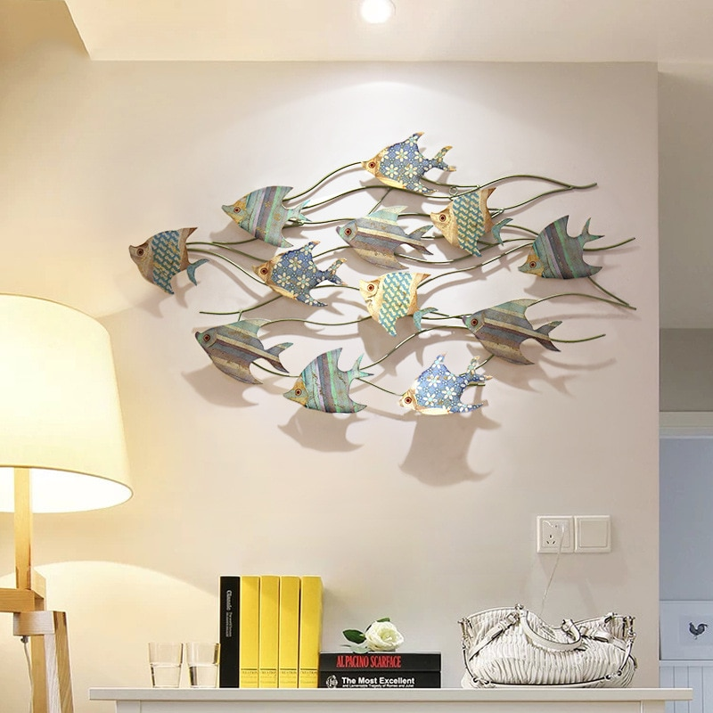 ديكور حائط عتيق متوسطي ، حديد مشغول ، معلق على الحائط ، سمكة معدنية إبداعية ثلاثية الأبعاد ، ستيريو ، ديكور غرفة نوم ، ZM227